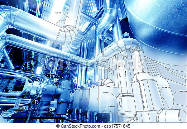 Stock Photo of Sketch of piping design mixed with industrial equipment...