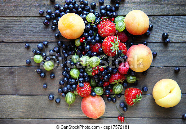 fresh berries on the table, top view