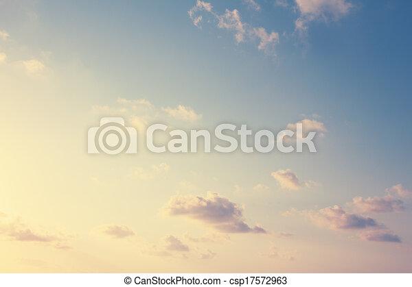Vintage sky  and puffy cloud background - csp17572963
