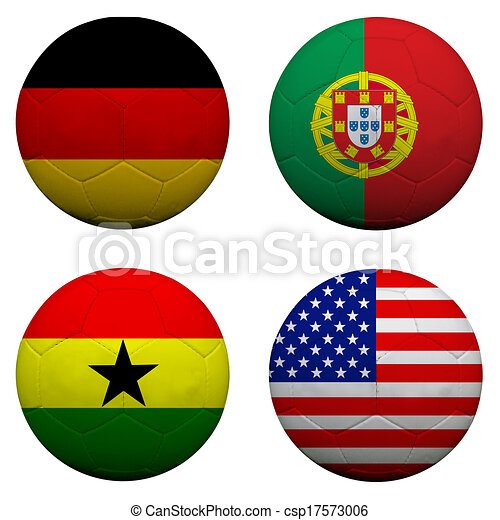 3D soccer balls with group G teams flags, Football Brazil 2014. isolated on white   - csp17573006