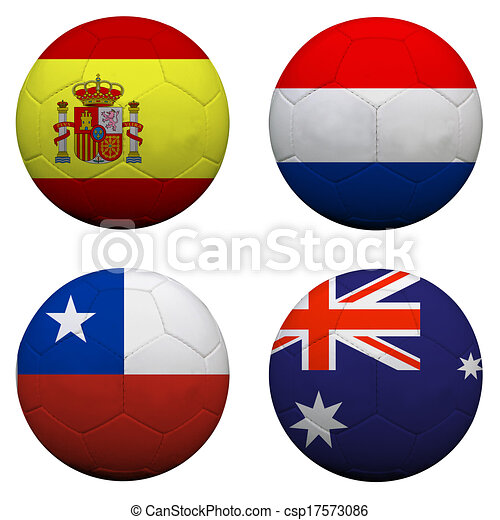 soccer balls with group B teams flags, Football Brazil 2014. isolated on white - csp17573086