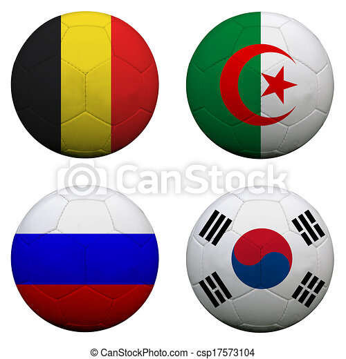 soccer balls with group H teams flags, Football Brazil 2014. isolated on white - csp17573104