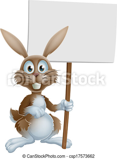 Easter bunny holding sign - csp17573662
