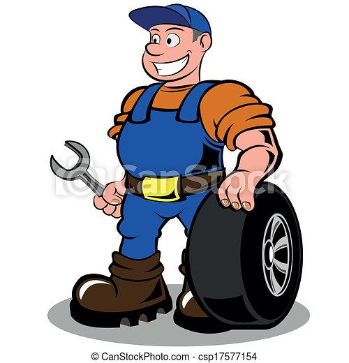Vecteur Clipart de auto, mécanicien, à, roue, vecteur, Illustration ...