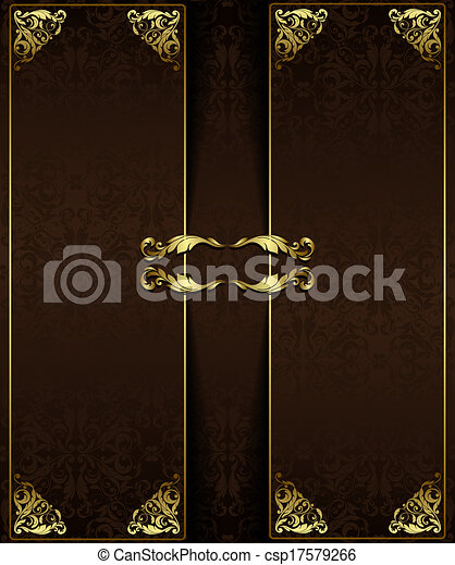 Vintage background with golden elements.Can be used for banner, invitation, wedding card, scrapbooking and others. Royal vector design element. - csp17579266