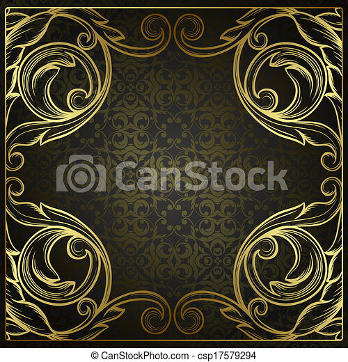 Vector vintage border frame engraving with retro ornament pattern in antique rococo style decorative design  - csp17579294