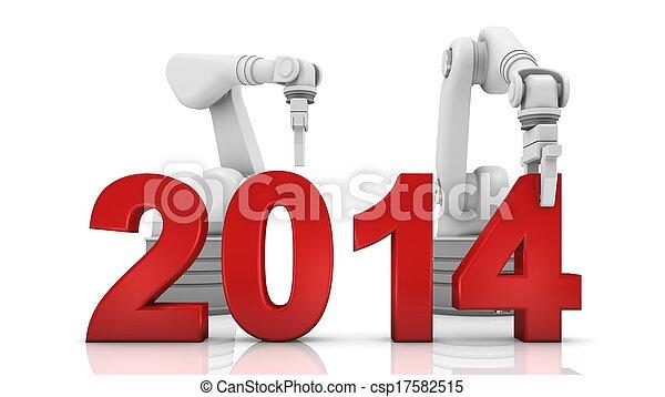 Industrial robotic arm building 2014 - csp17582515
