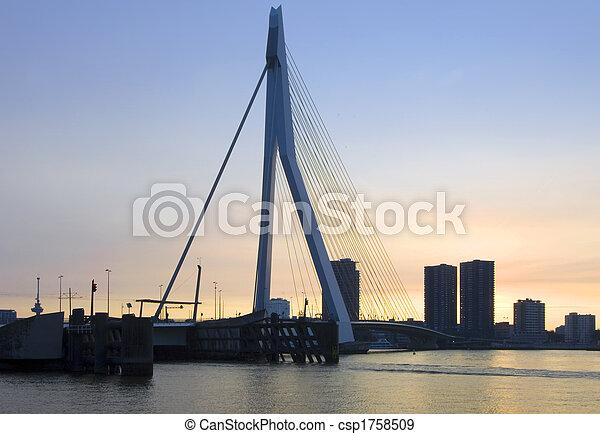 Erasmus Bridge at sunset - csp1758509