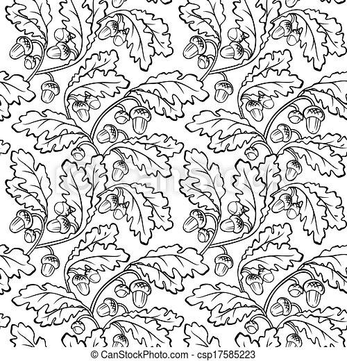 Vector Illustration Of Oak Leaf Acorn Black White Seamless