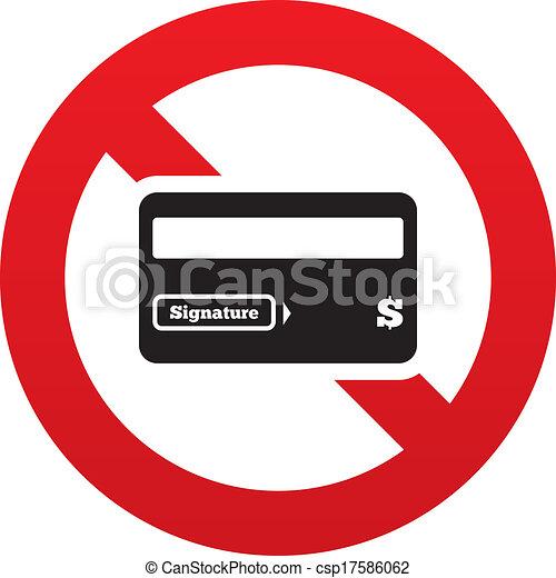 Clip Art Vector of No Credit card sign icon. Debit card symbol ...