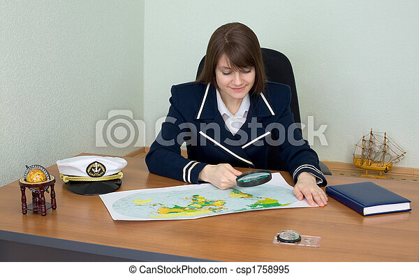 Woman in uniform with geographic map - csp1758995