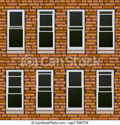 Building Windows Drawing Brick Wall Withl Windows