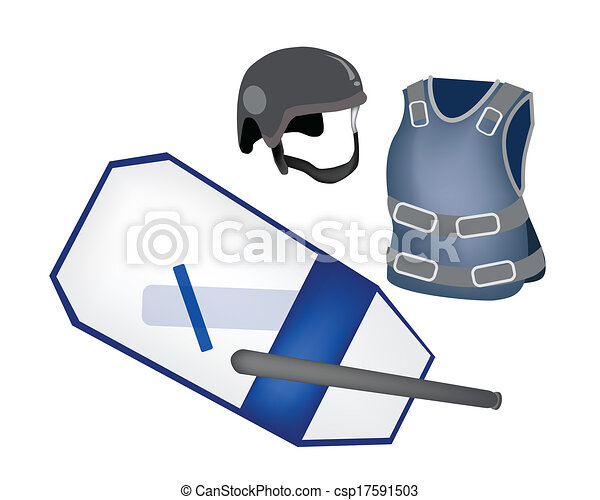 Police Equipment and Police Uniform on White Background - csp17591503