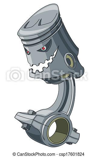 Vector Illustration of Piston - Humaniform piston isolated on a ...