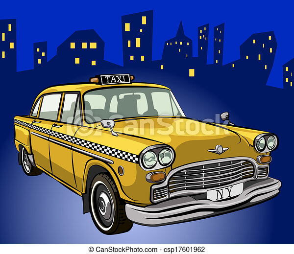 Vectors Illustration of Taxi - Retro yellow cab silhouette ... |Yellow Taxi Cab Drawing