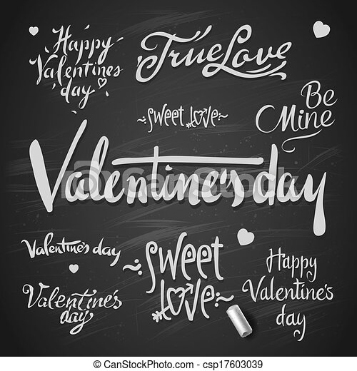 Set Of Happy Valentine's Day Hand Lettering - csp17603039