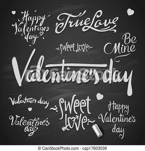 Set Of Happy Valentine's Day Hand Lettering - csp17603039