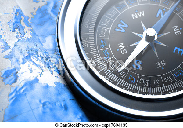 Compass on map background - csp17604135
