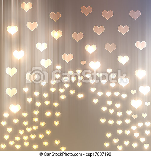 Abstract heart bokeh bright background - csp17607192