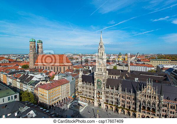 Aerial view of Munchen  Marienplatz - csp17607409