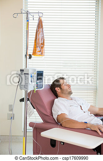 Patient Sleeping While Receiving Chemotherapy