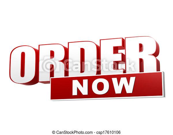 Stock Illustration Of Order Now Red White Banner