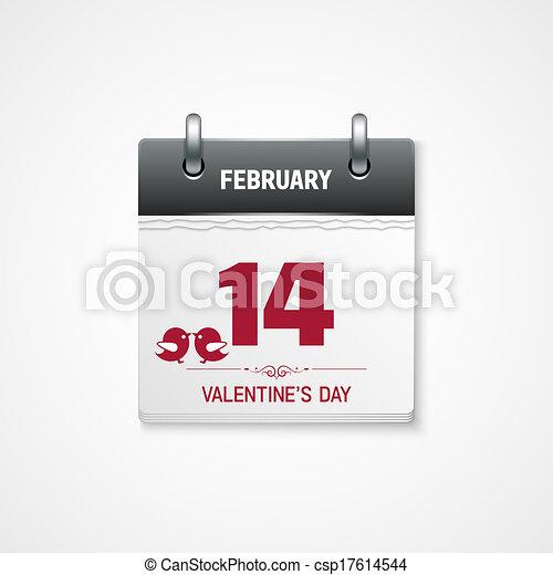 valentines day calendar 14 february date - csp17614544