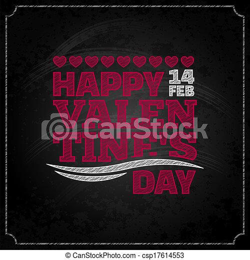 valentines day chalkboard design background - csp17614553