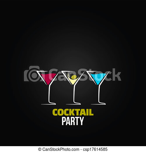 Cocktail Logo Vector Vector Cocktail Party Glass