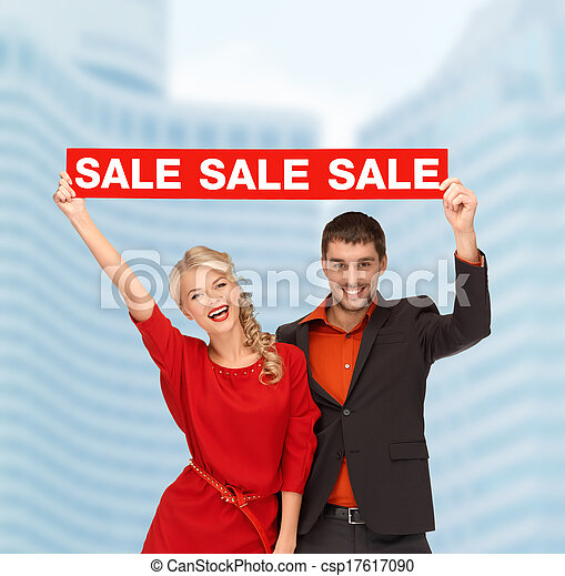 smiling woman and man with red sale sign - csp17617090