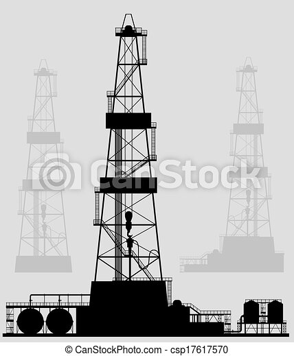 Oil rigs silhouette. Detailed vector illustration. - csp17617570