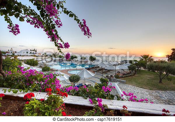 Tropical sunrise at a beach resort