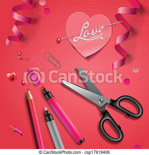 Set Of Happy Valentine's Day art craft objects - csp17619406