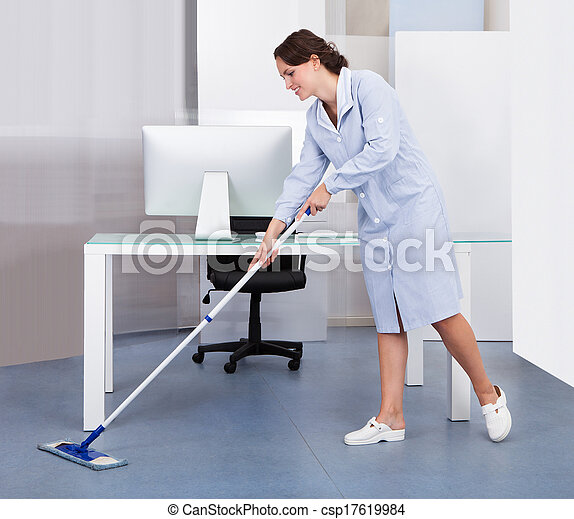Maid Cleaning Floor In Office - csp17619984