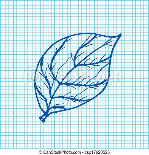 Vector Illustration of drawing of leaves on graph paper ve ...