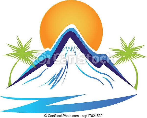 Mountains palms and sun logo - csp17621530
