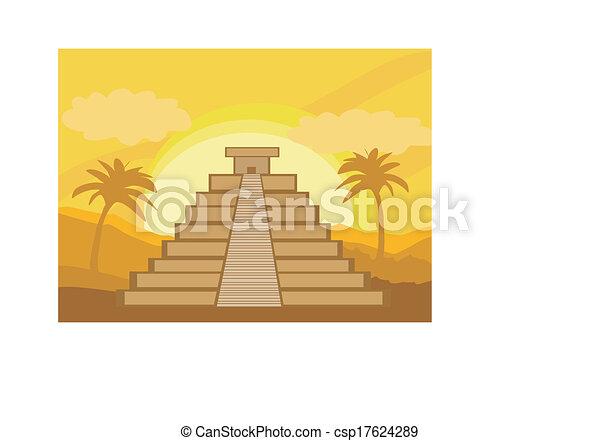 Chichen Itza Mexico Drawing Maya Pyramid Chichen-itza