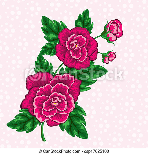 Vector Clipart Of Decorative Floral Design Tropical Flowers