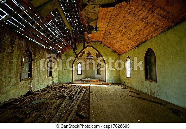 Deteriorating Interior of a Church - csp17628693
