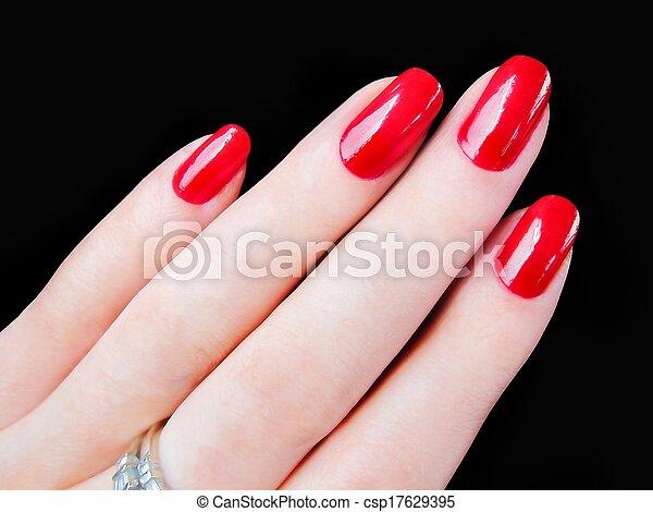 Beautiful womans red fingernails