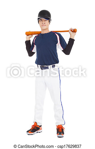 Portrait of a asian Young adult baseball player - csp17629837