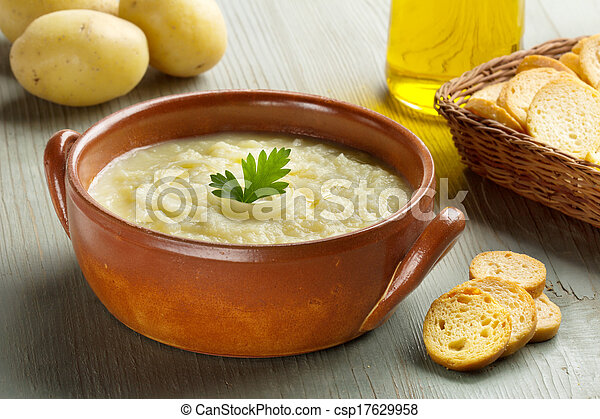 Stock Photo - potato soup, croutons, oil and raw potatoes - stock ...