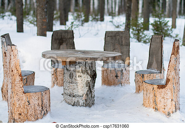 Stock image of table and chairs made of tree trunks - Tree trunk table and chairs ...