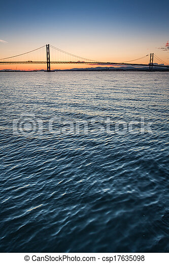 Sunset over river and bridges in Queensferry - csp17635098