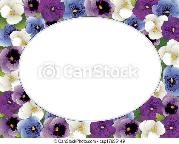 Pansy Flower Picture Frame, Oval - csp17635149