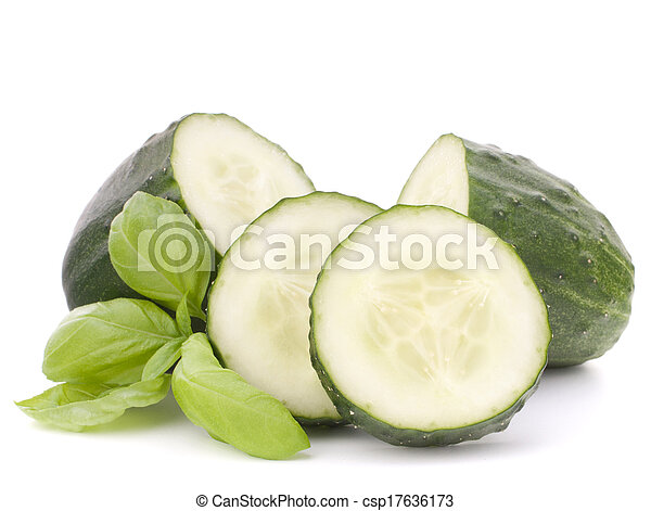 Sliced cucumber vegetable and basil leaves still life - csp17636173