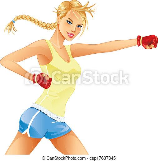 vetor eps de mulher boxe bonito mulher boxe isolado ligado branca csp17637345. Black Bedroom Furniture Sets. Home Design Ideas
