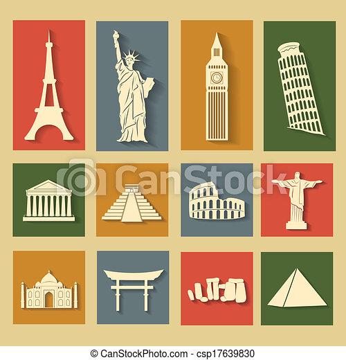 World landmarks, flat icons set - csp17639830