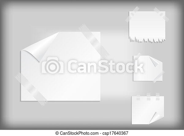 White stickers with scotch tape - csp17640367