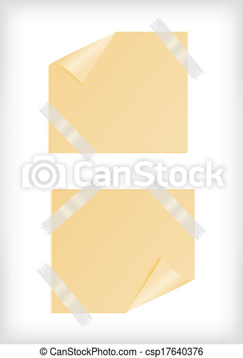 Yellow stickers with curled corner and scotch tape - csp17640376